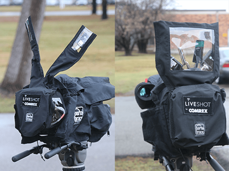 LiveShot rain cover with pockets for cellular modems
