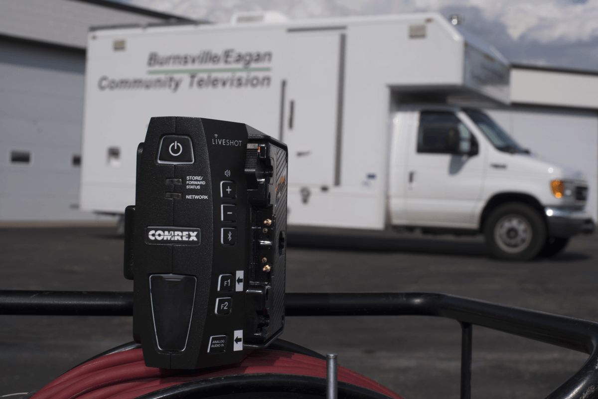 Burnsville Community Television truck with a Comrex LiveShot Portable unit in the foreground