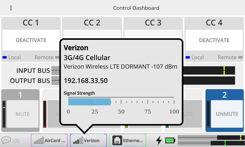 ACCESS NX dashboard no mixer Verizon pop-up