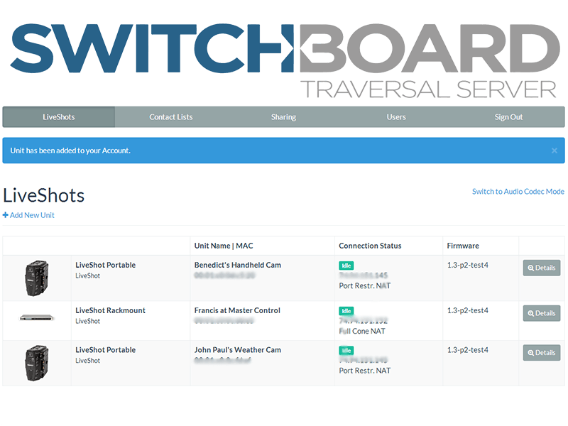 Comrex Switchboard Traversal Server GUI
